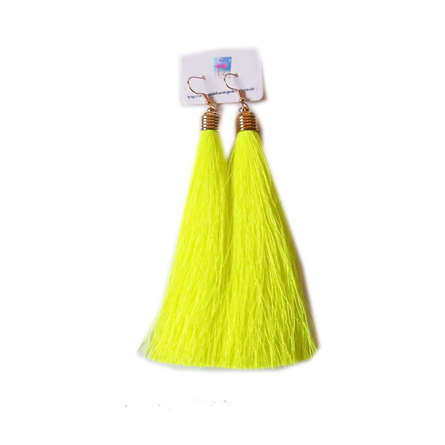 Long Tassel Drop Earrings - Neon Yellow