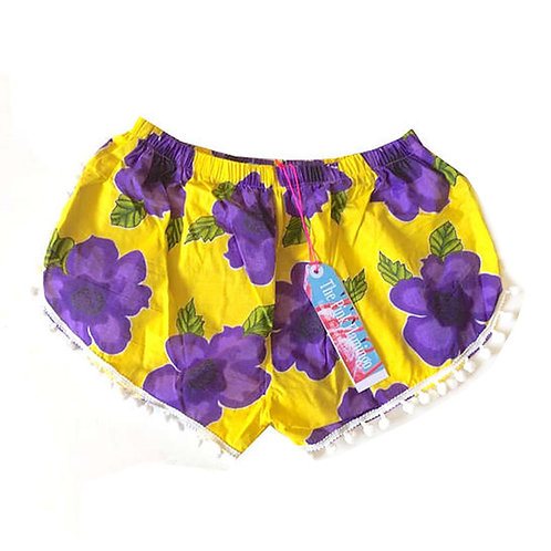 Yellow and Purple Floral Print Pom Pom Shorts