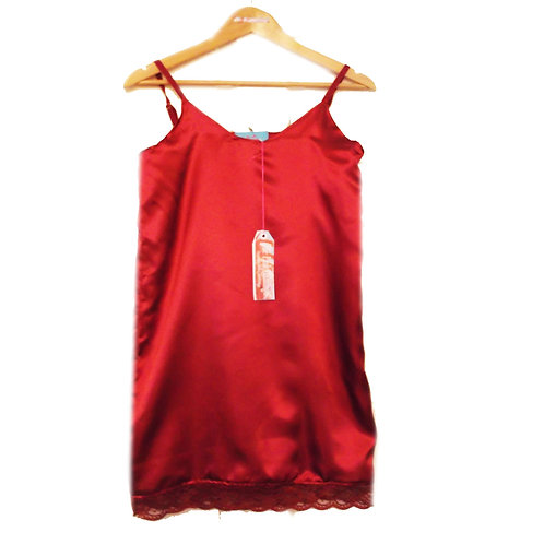 Wine Satin Camisole Night Dress with Lace