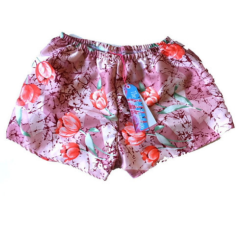 Pretty Pink Floral Silk Lace Trim Shorts