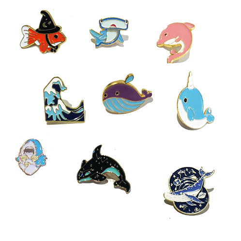 Cute Whale and Dolphin Pin Badges