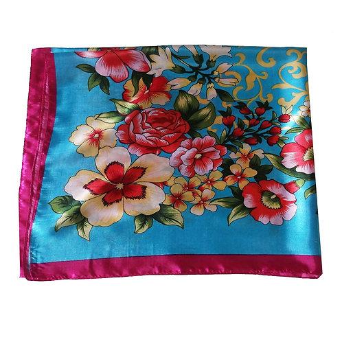 Blue and Pink Vintage Style Satin Square Shawl