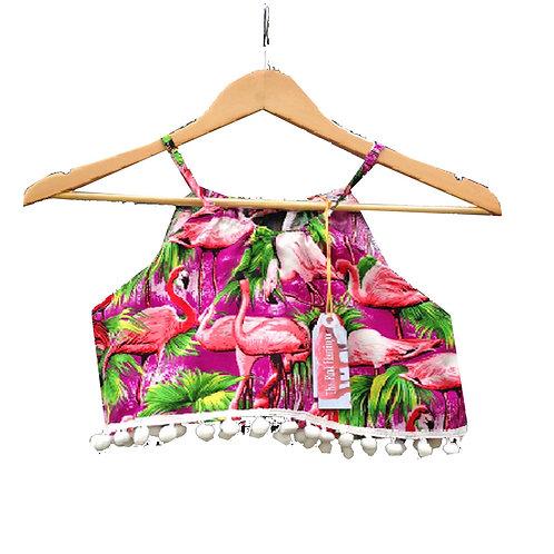 Purple Retro Flamingo Print Pom Pom Halter Crop Top
