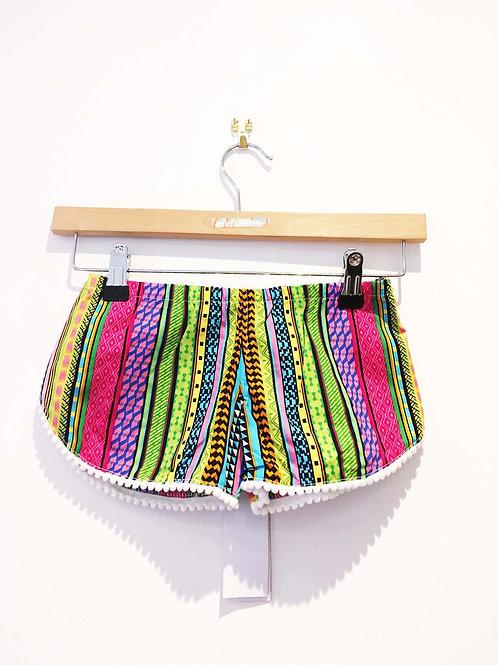 Age 8 - 9 Pink Aztec Print Pom Pom Shorts
