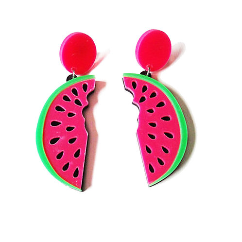 Neon Pink Retro Watermelon Slice Earrings