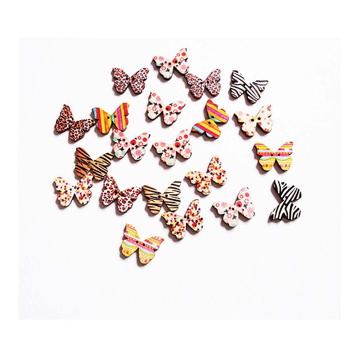 Abstract Print Butterfly 2 hole Buttons
