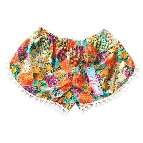 Bright Orange Floral Bauble Print Pom Pom Shorts