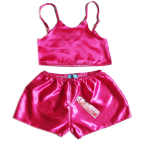 Hot Pink Satin Camisole and Shorts Set