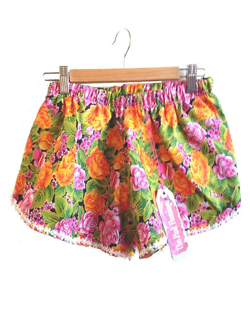 S6-8 Yellow and Pink Retro Floral Print Shorts
