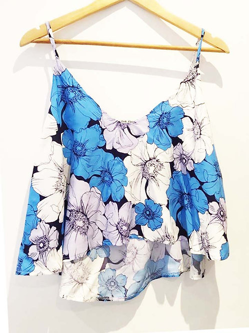 S 16 - 18 Blue and White Floral Sketch Viscose Oversized Camisole