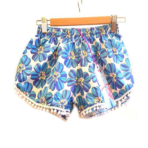 S4-6 Sky Blue Retro Floral Print Mini Pom Pom Shorts