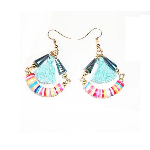 Multi Coloured Tassel Drop Earrings