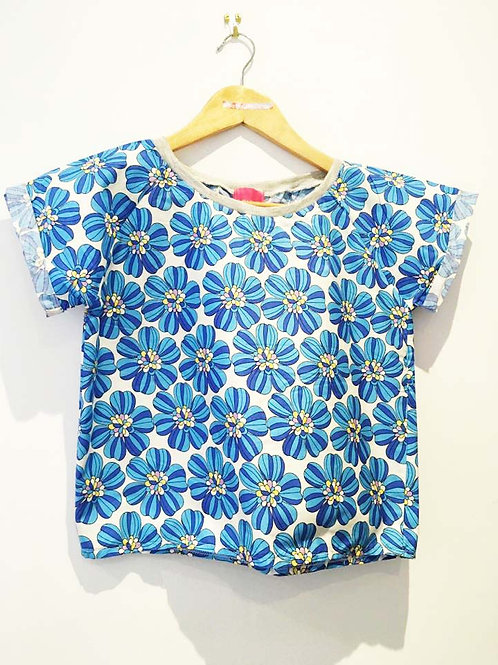 Retro Blue Floral Boxy Fit Tee