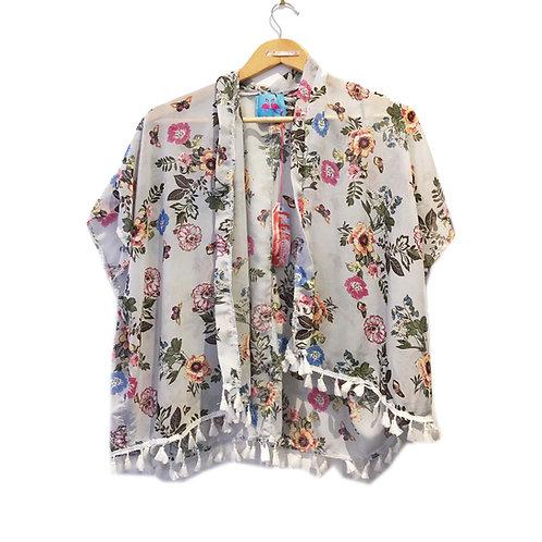 Pretty Grey Floral Kimono Cover up with Tassel Hem
