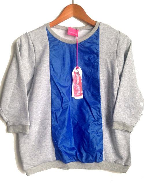 Size M Grey Marl Blue PU Front SweatShirt