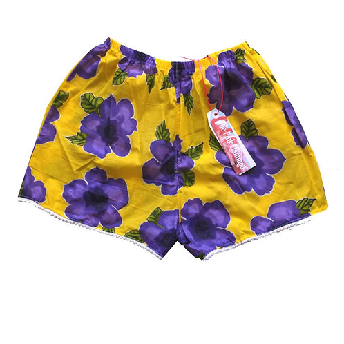 Yellow and Purple Floral Print Basic Shorts with Braid Hem