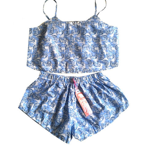 Blue Elephant Sketch Print Crop Top and Shorts Set
