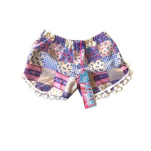 Children's Lilac Gingham Pom Pom Shorts