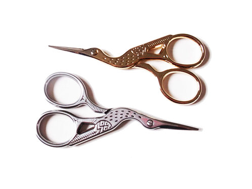 Cute Gold and Silver Metal Stork Embroidery Scissors