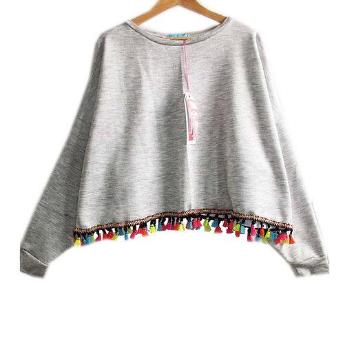 Grey Marl Slouchy Sweater with Neon Tassel Braid Hem