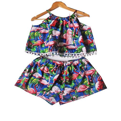 Royal Blue Retro Flamingo Print Halter Top and Shorts set