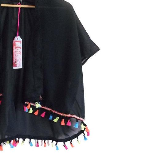 Black Chiffon Kimono with Multicoloured Tassel trim