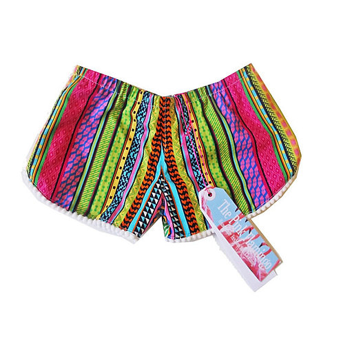 Children's Bright Aztec Pom Pom Braid Shorts