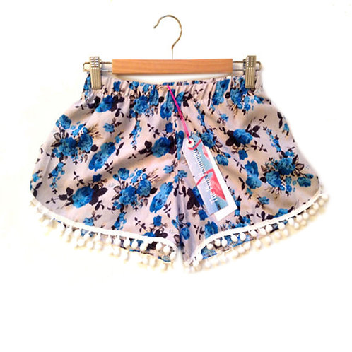 S6-8 Grey and Blue Vintage Floral Print Pom Pom Shorts