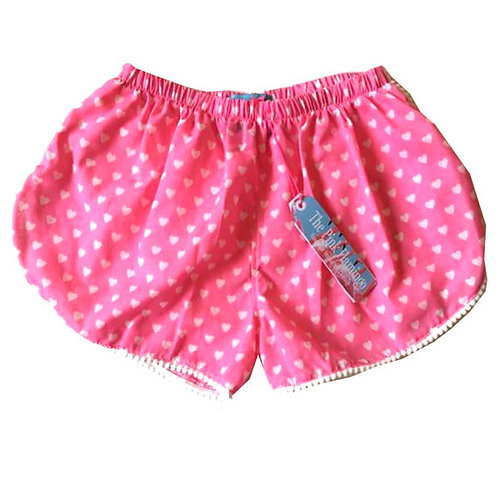 Pink Love Heart Print Pom Pom Shorts