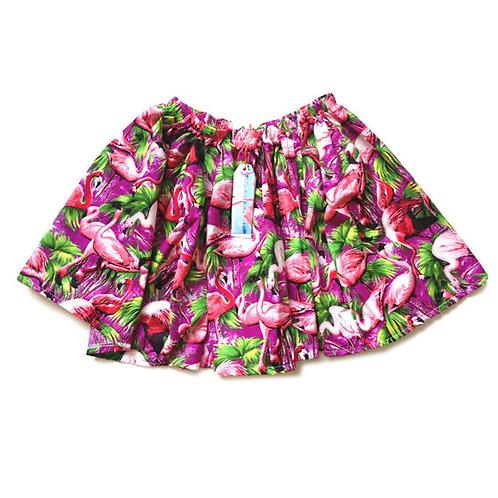Purple Retro Flamingo Print Swing Skirt