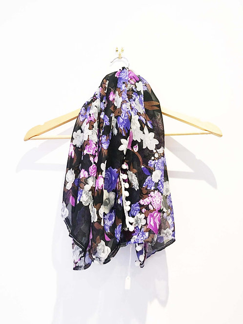 Black and Purple Floral Print Lightweight Pom Pom Scarf