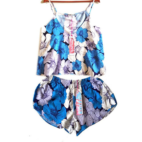 Floral Sketch Print Blouse and Shorts set