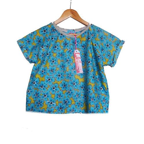 Turquoise and Yellow Print Raglan Sleeve Tee