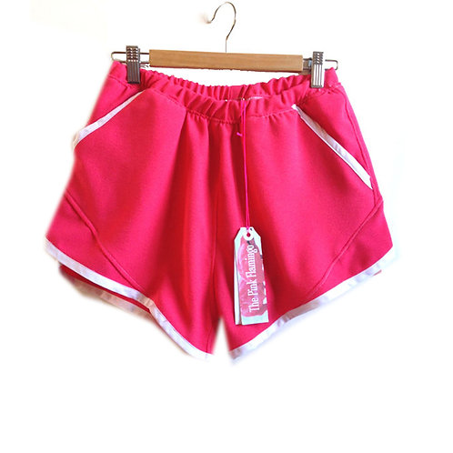 S8-10 Hot Pink Retro Crepe Sports Shorts with Pockets