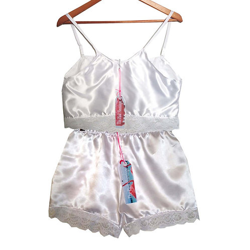 White Satin Camisole with Floral Lace Trim