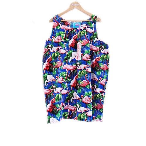 Royal Blue Retro Flamingo Print Shift Dress