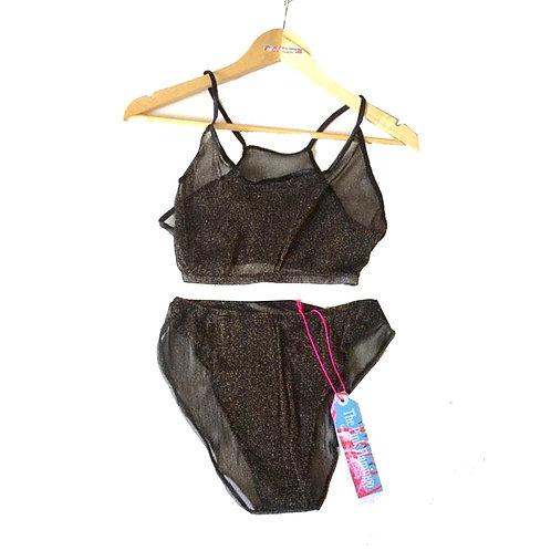 Black and Gold Lurex Crop Top Bikini Set