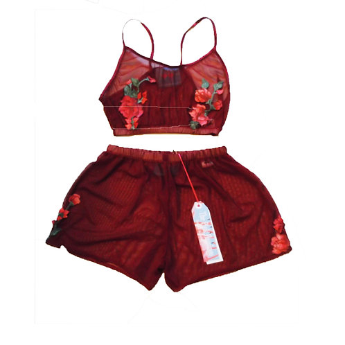 Wine Mesh and Vintage Rose Applique Bralet and Shorts Set