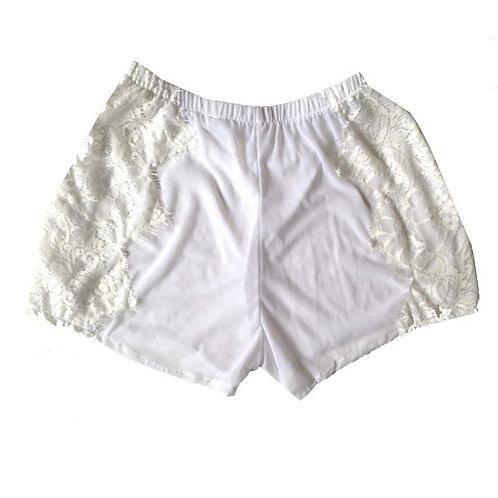 White Mesh Shorts with Eyelash Applique Trim