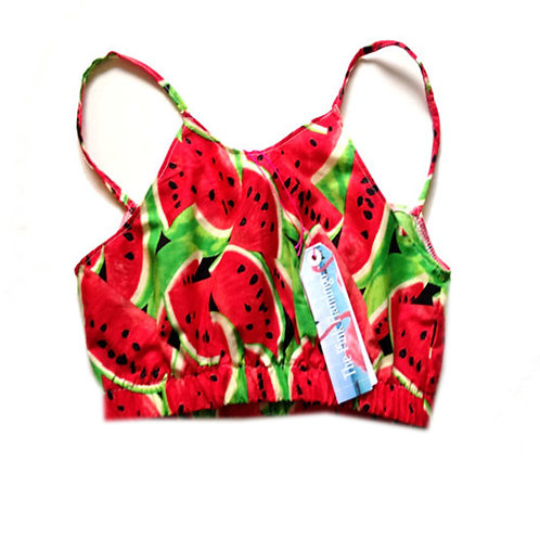 Red Retro Watermelon Print Bralet