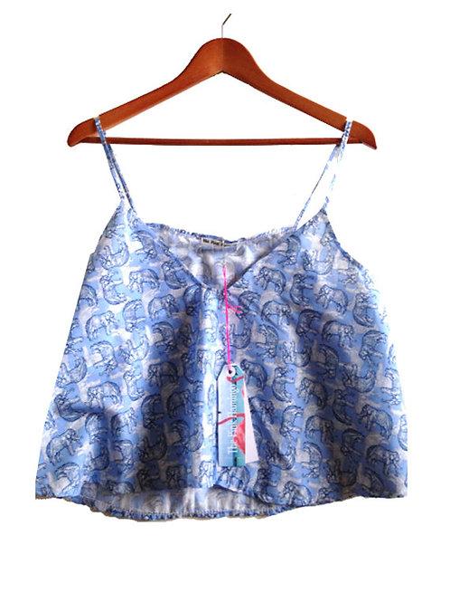 Blue Elephant Sketch Print Swing Camisole