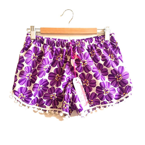 Purple Retro Floral Print Pom Pom Shorts