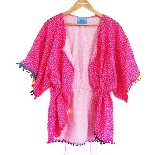 Hot Pink Ditsy Flamingo Rainbow Pom Pom Kimono