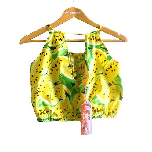 Yellow Retro Watermelon Print Keyhole Top