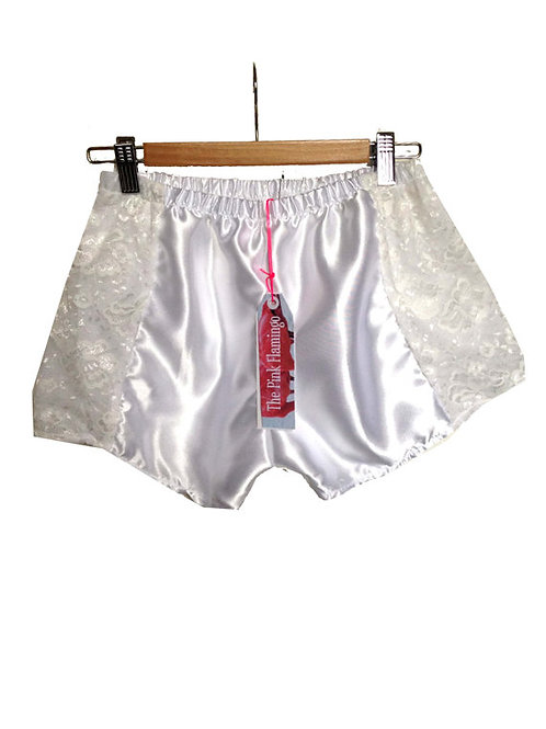 Pretty Satin and Floral Lace Panel Shorts
