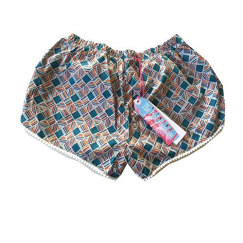 Blue and Orange Aztec Check Print Pom Pom Trim Shorts