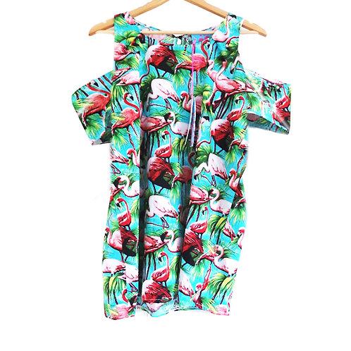 Green Retro Flamingo Print Cold Shoulder Dress