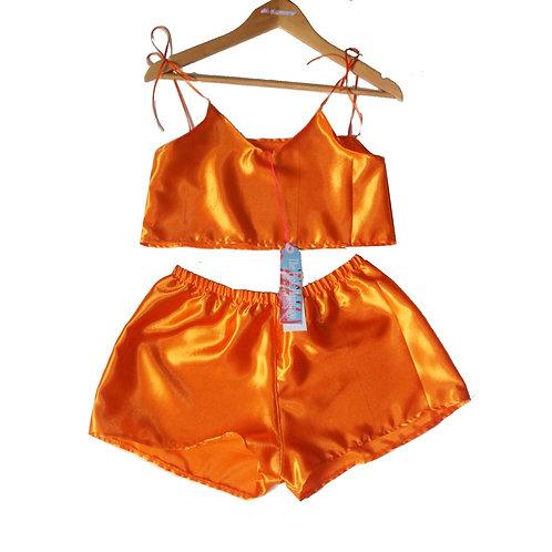 Orange Satin Camisole and Shorts Set