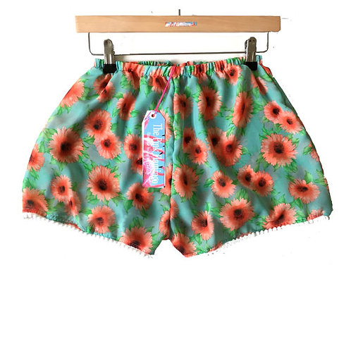 Blue and Orange Floral Pom Pom Shorts