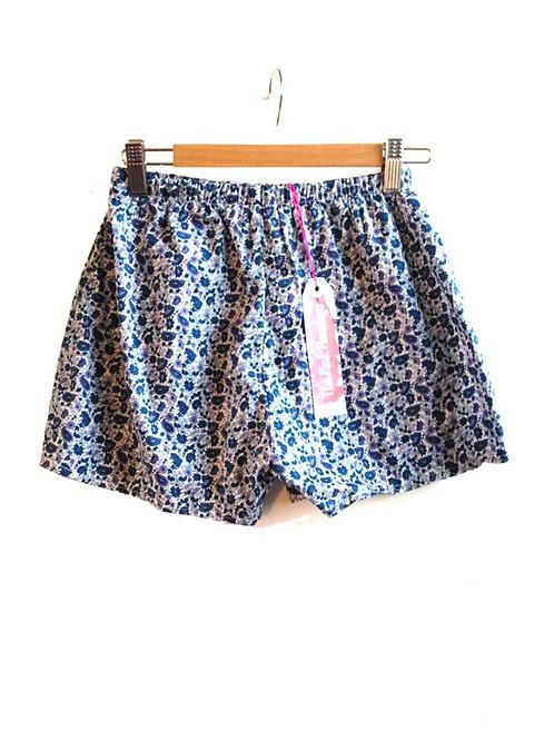 Petrol Blue Paisley Basic Shorts